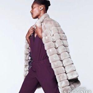 NWT | Eliza J Grooved Faux Fur Coat